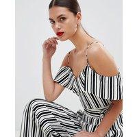 Karen Millen Cami In Engineered Stripe - Black/ White