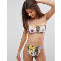 Asos Design Fuller Bust Strappy Back Crop Bikini Top In Pastel Baroque Print Dd-g - Pastel Baroque