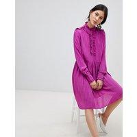 Y.A.S High Neck Ruffle Smock Dress - Purple
