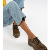 Monki leopard print pony hair lace up brogues in brown - Leopard