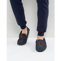 Dunlop Moccasin Slippers In Navy Suede - Blue