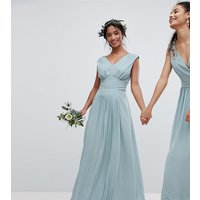 TFNC Petite Sleeveless Maxi Bridesmaid Dress With Pleated Skirt - Green lily