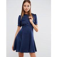 ASOSASOS Short Sleeve Satin Tea Dress With Rouleau Buttons - Navy