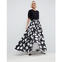 ASOS WHITE Stripe And Spot Full Maxi Skirt - Multi