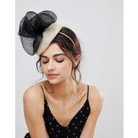 Vixen Cream Hat with Oversize Sinamay Black Bow - Black/cream