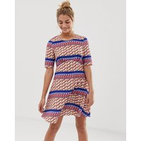 Yumi empire line dress in stripe geo print - Mixed