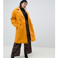 River Island Plus double breasted tailored longline coat in yellow - Yellow