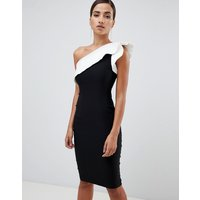Vesper pencil dress with exaggerated sleeve in colourblock - Black/ white
