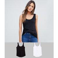 ASOS DESIGN Tall ultimate vest 2 pack SAVE - Black/white
