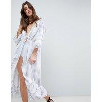 Asos Design Natural Stripe Maxi Beach Kimono Cover Up - White/blue