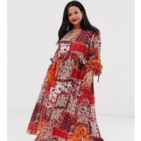 Neon Rose Plus maxi smock dress with button front in patchwork print - Multi patchwork