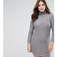 Brave Soul PlusBrave Soul Plus Polo Neck Jumper Dress - Crystal grey