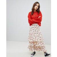 Falda larga con volante a capas y diseño de flores de Glamorous