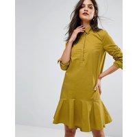 WarehouseWarehouse Peplum Hem Cotton Shirt Dress - Mustard