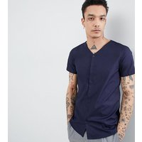 Noak skinny concealed placket casual shirt - Navy