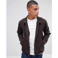 Another Influence Zip Through Cord Shacket - Brown