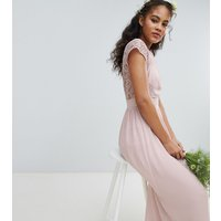 TFNC Tall Maxi Bridesmaid Dress with Scalloped Lace and Open Back - Mink