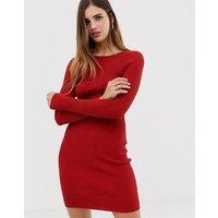 Urban Bliss Ribbed Knit Mini Dress - Rust