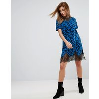 ASOSASOS T-Shirt Dress With Lace Inserts In Leopard Print - Blue leopard