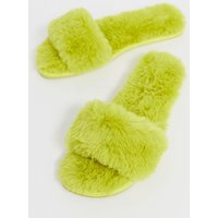 ASOS DESIGN Nia fluffy slider slippers in chartreuse - Chartreuse