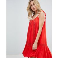 Accessorize Lace Insert Strappy Beach Dress - Red