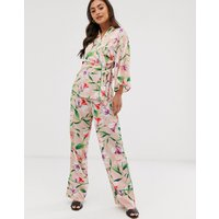 Liquorish wide leg trousers in floral print with green piping co ord - Multi