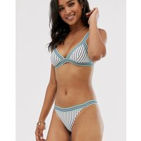Accessorize Elastic Trim Bikini Bottom In Blue Stripe