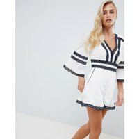 Forever New Lace Trim Playsuit - Blue/white