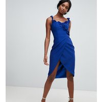 Chi Chi London Tall wrap pencil dress with frill detail in cobalt