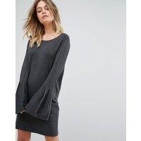 Vero ModaVero Moda Bell Sleeve Knitted Jumper Dress - Dark grey melange