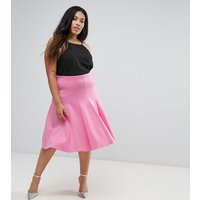 ASOS CurveASOS CURVE Prom Skirt with High Waist in Scuba - Pink