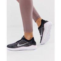 Nike Running Free Run Flyknit Trainers In Black - Pink foam