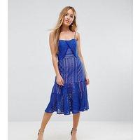 Jarlo Petite Cami Strap Lace Midi Dress - Blue