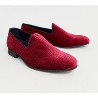 Zign slipper loafers in burgundy velvet - Red
