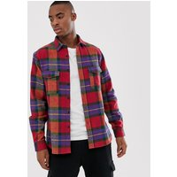 ASOS DESIGN oversized heavy weight check shirt in red - Multi