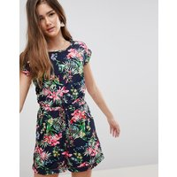 Brave Soul Lenore Playsuitin Tropical Floral - Navy Combo