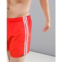 Adidas Swim 3 Stripe Swim Shorts In Red Dj2135 - Red