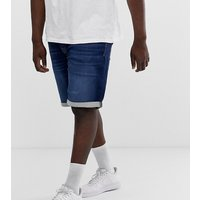 Jack & Jones Plus Size denim short in mid blue wash - Blue denim