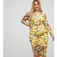ASOS CURVE Printed Mesh Pencil Dress With Ruched Skirt - Multi
