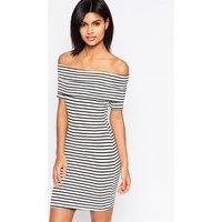 ASOSASOS Mini Bardot Off Shoulder Dress in Stripe with Short Sleeve - Black/white