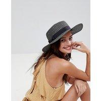 Sombrero canotié de paja con detalle de lazo monocolor de ASOS