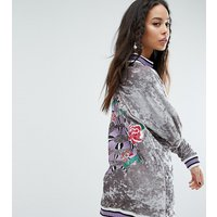 Jaded London TallJaded London Tall Oversized Embroidered Velvet Jumper Dress With Rib Detail - Multi