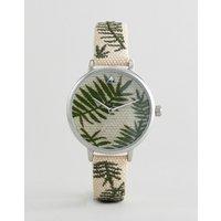 Reloj tejido con hoja de palmera bordada de ASOS DESIGN Curve