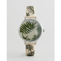 Asos Design Curve Embroidered Palm Leaf Woven Watch - Straw Effect