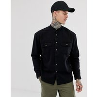 ASOS DESIGN oversized denim shirt in black with grandad collar and mock horn buttons - Black