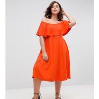 ASOS CurveASOS CURVE Ruffle Bardot Midi Skater Dress - Bright orange
