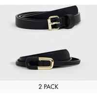 Pack de 2 cinturones estrechos y cinturones para vaqueros de ASOS DESIGN