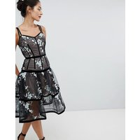 Bronx and Banco Caged Midi Dress with Floral Embroidery - Black