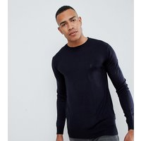 French Connection Tall Plain Logo Crew Neck Knit Jumper - Marine