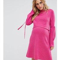 ASOS Maternity - NursingASOS Maternity NURSING Tie Sleeve Jumper Dress - Fuschia
